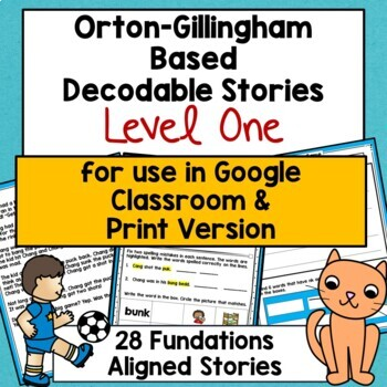 Orton-Gillingham Based Decodable Stories & Comprehension Sheets: Level One