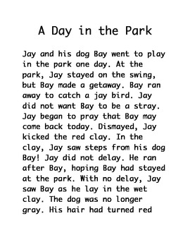 "Decodable Story for older students (""ay"" spelling of /ā/): A Day in the Park"