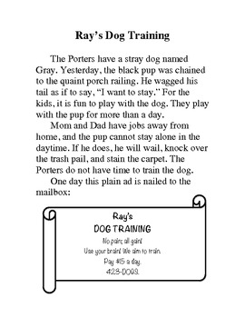 "Decodable Story for older students(""ai/ay"" spellings of /ā/): Ray's Dog Training"