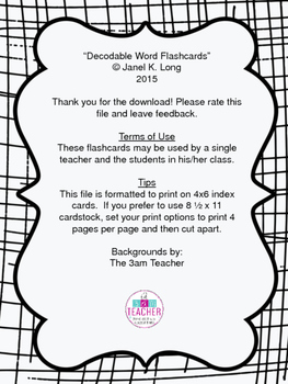Decodable Word Flashcards - to Supplement Reading Mastery K, Lessons 1-60