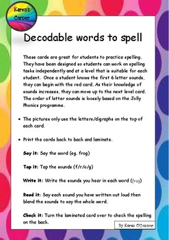 decodable word pictures to practice spelling
