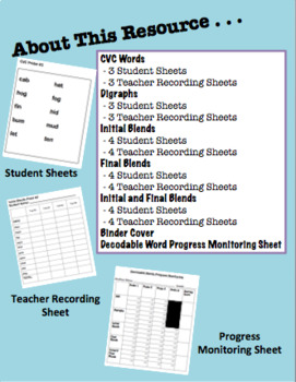 Decodable Words Progress Monitoring - CVC words, Digraphs, Blends