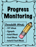 IEP and RTI Reading Progress Monitoring - CVC words, Digraphs, Blends