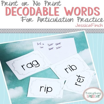 No Prep Articulation: Decodable Words with /r, s, l/  (Print or No Print)