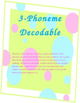 Decodable word game using 3 phonemes