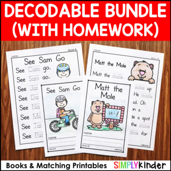 Decodable Readers - Emergent Readers with Homework by Simply Kinder