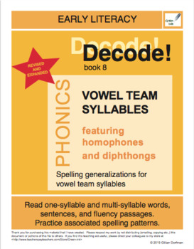 Decode! 8  Vowel Team Syllables