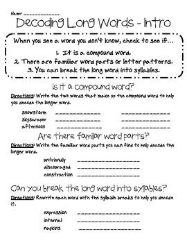 Decode Long Words - Handouts (Common Core)