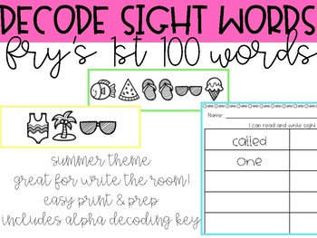 Decode Secret Sight Words - Fry's 1st 100