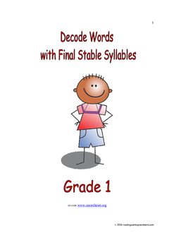 Decode Words with Final Stable Syllables: Introduce/Practi