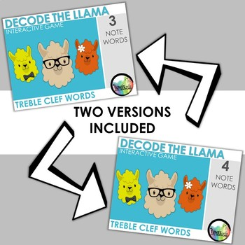Decode the Llama: Interactive Treble Clef Note Name Game
