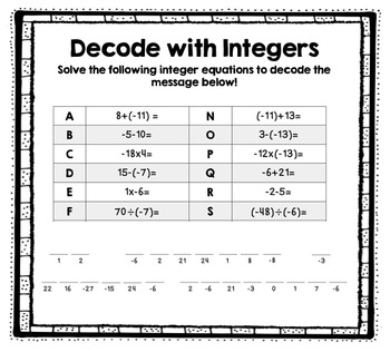 Decode with Integers 6.NS.5