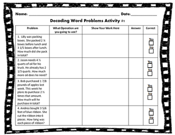Decoding Fraction Word Problem Activity