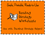 Decoding Helpers Reading Strategy Worksheets