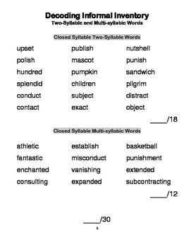 Decoding Informal Inventory -Two Syllable and Multisyllabic Words