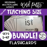 Decoding Multisyllabic WORD PARTS TEACHING FLASHCARDS DOGS