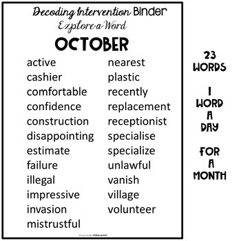 Decoding Multisyllabic Words INTERVENTION BINDER GUIDED PRACTICE October