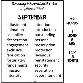Decoding Multisyllabic Words INTERVENTION BINDER GUIDED PRACTICE September
