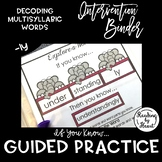 """Decoding Multisyllabic Words INTERVENTION BINDER GUIDED PRACTICE """"-ly"""""""