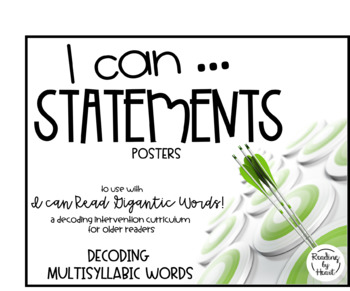 Decoding Multisyllabic Words Learning Targets I CAN Posters