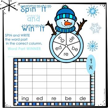 Decoding Multisyllabic Words SPIN IT & WIN IT WINTER WRITE & WIPE MATS SETS 1-12