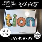 Decoding Multisyllabic Words WORD PARTS FLASHCARDS SPIDERWEB SETS 1-12