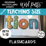 Decoding Multisyllabic Words WORD PARTS TEACHING FLASHCARDS SPIDERWEB SETS 1-12