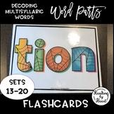 Decoding Multisyllabic Words WORD PARTS FLASHCARDS SPIDERWEB SETS 13-20