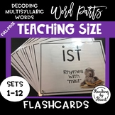 Decoding Multisyllabic Words WORD PARTS TEACHING FLASHCARDS DOGS SETS 1-12