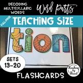 Decoding Multisyllabic Words WORD PARTS TEACHING FLASHCARDS SPIDERWEB SETS 13-20