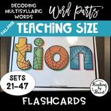 Decoding Multisyllabic Words WORD PARTS TEACHING FLASHCARDS SPIDERWEB SETS 21-47