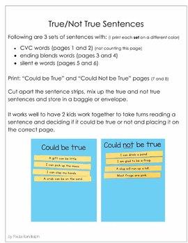 Decoding Practice - True/Not True Sentences