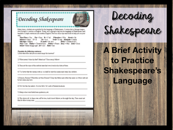 Decoding Shakespeare