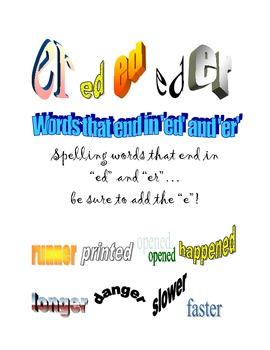 """Decoding Skill: Word Endings Practice: """"er"""", """"ed"""""""
