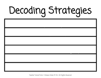 Decoding Strategies Anchor Chart and Notetaking Guide