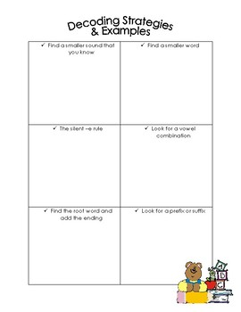 Decoding Strategies - Graphic Organizer