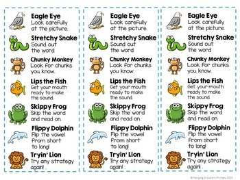 Guided Reading Decoding Strategies Posters and More - Rainbow