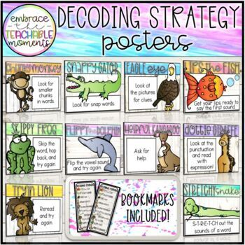 Decoding Strategy Posters and Bookmarks: White Wood