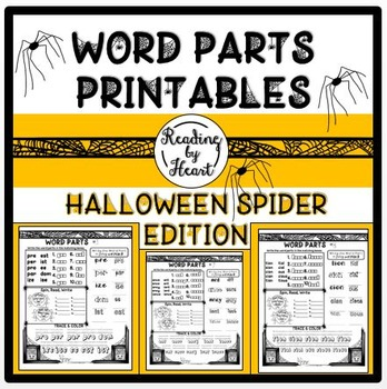 Decoding Multisyllabic Words WORD PARTS PRINTABLE PRACTICE HALLOWEEN SPIDERS