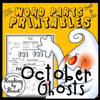 Decoding Word Parts Printables No Prep October Ghosts
