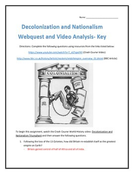 Decolonization and Nationalism- Webquest and Video Analysis with Key
