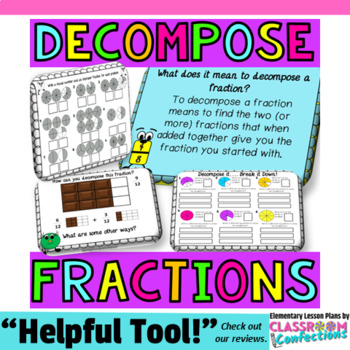 Decompose Fractions by Elementary Lesson Plans | Teachers Pay Teachers
