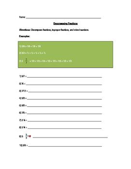 Decompose Fractions Worksheet