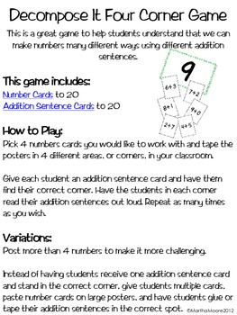 Addition: Decompose It Four  Corner Game