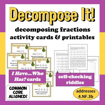 Decompose It! decomposing fractions I Have, Who Has cards