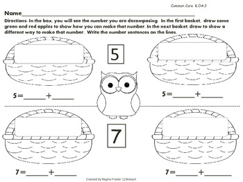 Decompose Numbers:  Apples in A Basket  Common Core K.OA.3