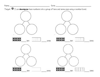 Decompose Teen Numbers with Number Bonds and a Ten Frame
