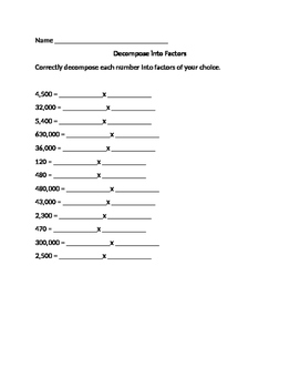 Decompose into Factors worksheet