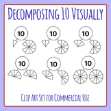 Decomposing 10 Visually - Number Decomposition Clip Art Set for Commercial Use