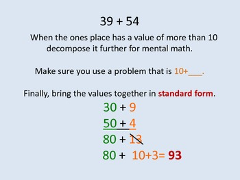 Addition Decomposing 2 and 3 Digit Numbers in Second Grade